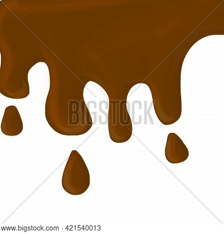 Abstract Fluid Chocolate Background. Drips Chocolate, Isolated Background. Melt Fluid Sweet Dessert.