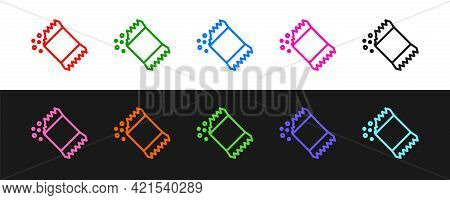 Set Line Packet Of Pepper Icon Isolated On Black And White Background. Vector