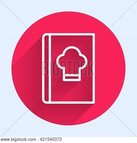 White Line Cookbook Icon Isolated With Long Shadow. Cooking Book Icon. Recipe Book. Fork And Knife I