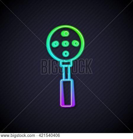 Glowing Neon Line Spatula Icon Isolated On Black Background. Kitchen Spatula Icon. Bbq Spatula Sign.