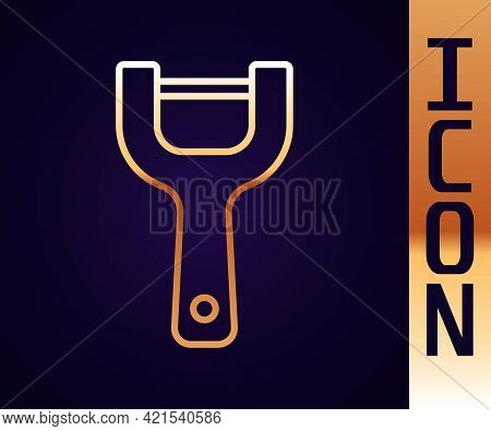 Gold Line Vegetable Peeler Icon Isolated On Black Background. Knife For Cleaning Of Vegetables. Kitc