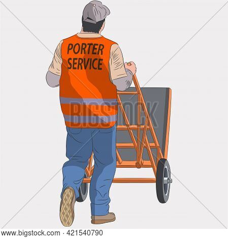 A Male Loader In A Red Vest With A Trolley.