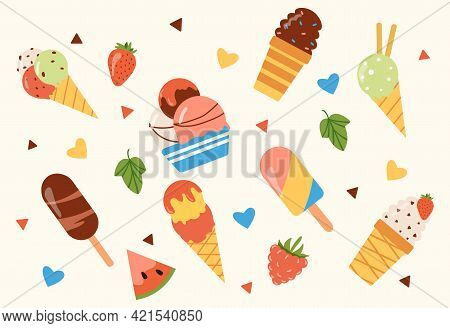 Different Set Of Ice Cream, Popsicles, Fruit Ice. Bright Summertime Poster With Sweet Food. Collecti