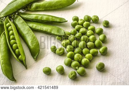 Ripe Green Pea Seeds With A Group Of Unopened Pods In The Corner On A Coarse White Cotton Cloth