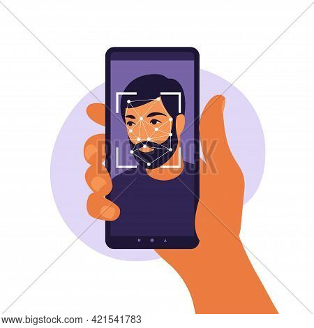 Facial Recognition System Concept. Face Id, Face Recognition System. Facial Biometric Identification
