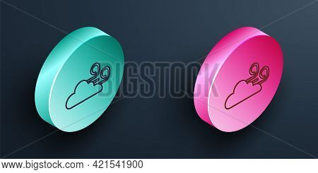 Isometric Line Windy Weather Icon Isolated On Black Background. Cloud And Wind. Turquoise And Pink C