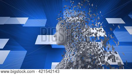 Composition of exploding human bust formed with grey particles and screens on blue background. global online identity and security concept digitally generated image.