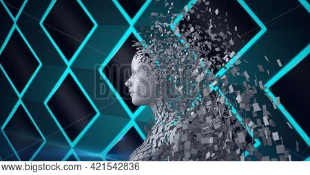 Composition of exploding human bust formed with grey particles and green diamonds background. global online identity and security concept digitally generated image.