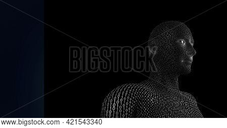 Composition of human bust formed with binary coding with blue banner. global science, technology and data processing concept digitally generated image.