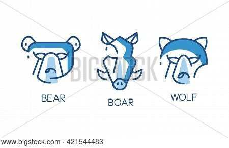Animal Logo Design Set, Abstract Badges With Bear, Boar, Wolf Heads Vector Illustration