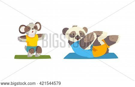 Cute Animals Wild Animals Doing Sports Set, Panda Bear Doing Sit Up And Koala Bear Doing Squats Cart