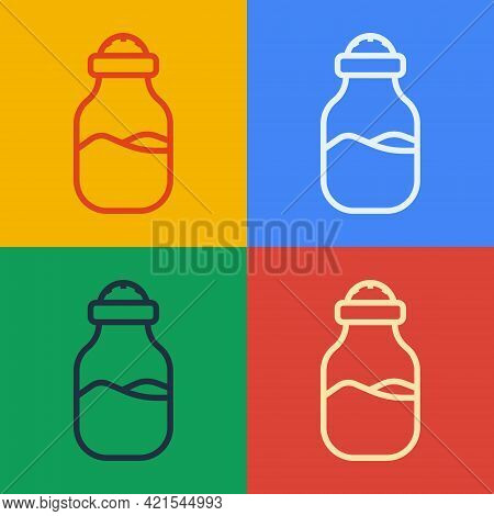 Pop Art Line In Can Icon Isolated On Color Background. Seasoning Collection. , Condiments In A Glass
