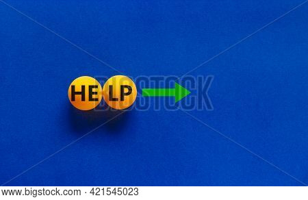 Help Is Here Symbol. Conceptual Image Of Motivation. Orange Table Tennis Balls With The Word 'help',