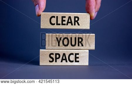 Clear Your Space Symbol. Wooden Blocks With Words 'clear Your Space'. Beautiful Grey Background, Bus