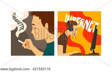 Bad Habits And Addiction Set, Cigarette And Computer Games Addictions Cartoon Vector Illustration