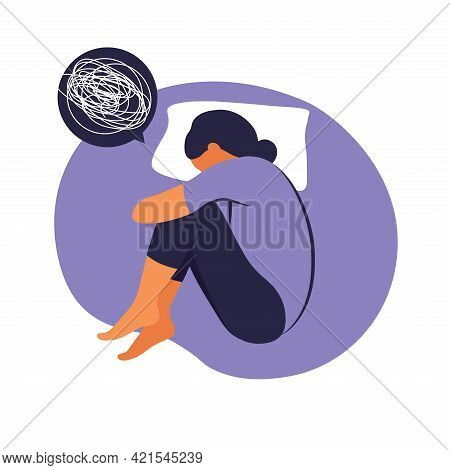 Woman Suffers From Insomnia Stress. She Lies In Bed And Thinks. Concept Illustration Of Depression,