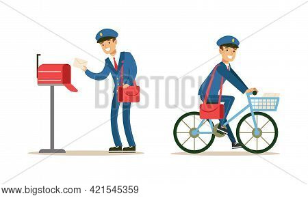 Postmen Delivering Correspondence Set, Postal Carrier Characters In Blue Uniform And Cap Carrying Le
