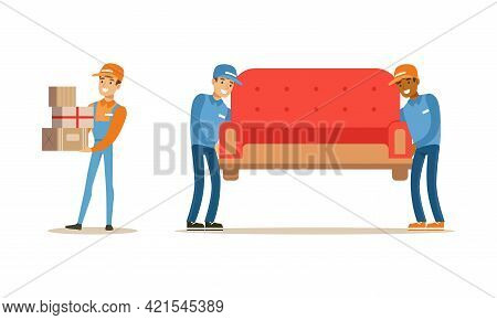Male Courier Carrying Boxes And Sofa Set, Delivery Men Characters In Uniform Delivering Parcels To C