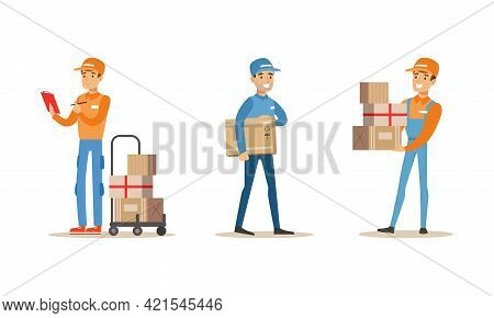 Male Courier Carrying Boxes Set, Delivery Men Characters In Uniform Delivering Parcels Cartoon Vecto