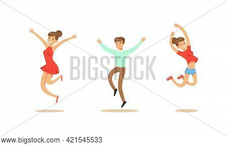 Happy People Set, Joyful Man And Woman Jumping Celebrating Victory Cartoon Vector Illustration