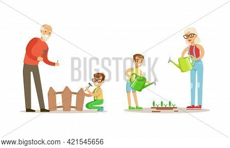 Grandparents Spending Time With Grandchildren Set, They Are Repairing Fence And Watering Trees In Th