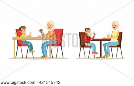 Grandparents And Grandchildren Set, Grandma And Grandson Drinking Tea And Talking To Each Other Cart