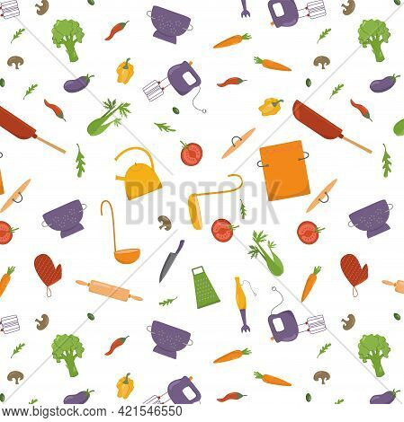 Seamless Pattern Cooking With Vegetables And Kitchen Tools, Cookware. Vector Stock Illustration On W