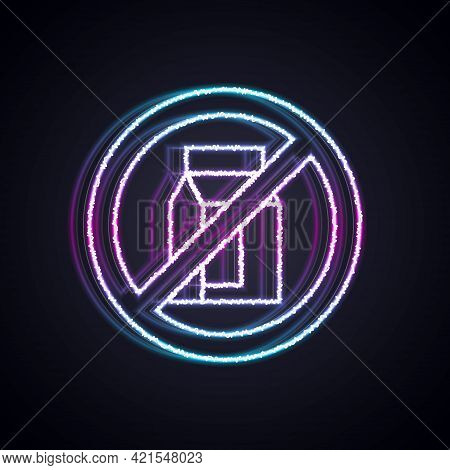 Glowing Neon Line No Pack Of Milk Icon Isolated Glowing Neon Line Background. Not Allow Milk. Allerg