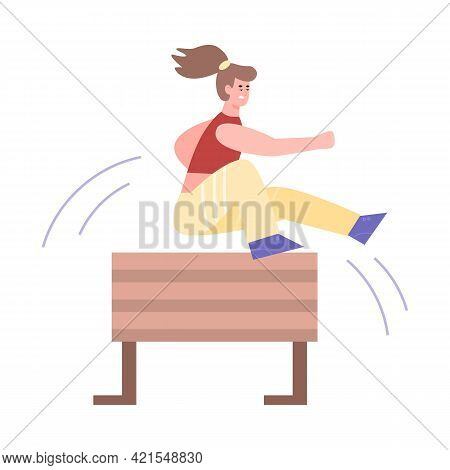 Woman Jumping Over Obstacle Or Wooden Barrier Flat Vector Illustration Isolated.