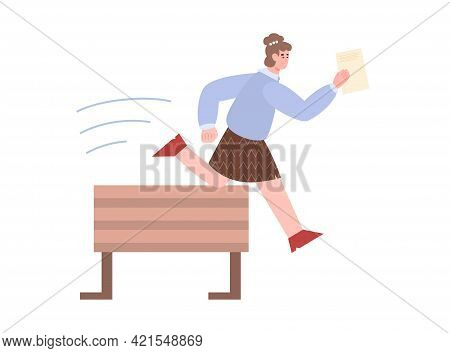 Business Woman With Document Jumps Over Obstacle, Vector Illustration Isolated.