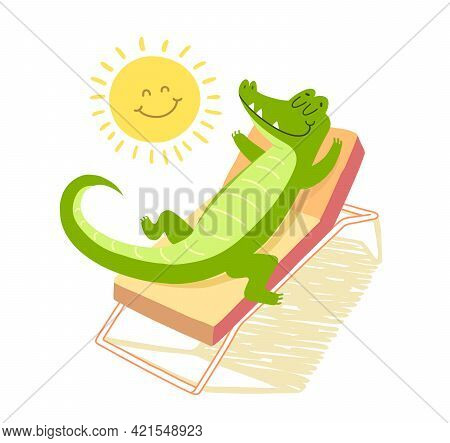 Crocodile Laying On A Sunbed And Sunbathing Under The Smiling Sun. Vacation Concept. T-shirt Illustr