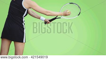 Composition of female tennis player with tennis racket and ball with copy space. sport, fitness and active lifestyle concept digitally generated image.