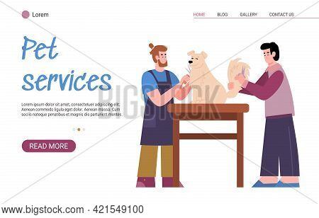 Pet Services Website Mockup With Masters Of Grooming, Flat Vector Illustration.
