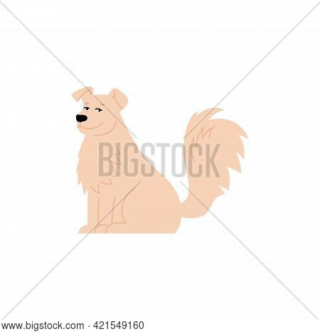 White Fur Smiling Cute Dog Cartoon Character, Flat Vector Illustration Isolated.