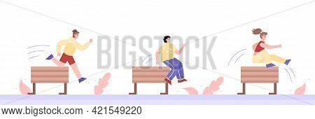 People In Sportswear Jumping Over Obstacles Cartoon Vector Illustration Isolated.