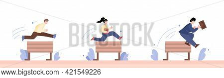Business People Competing In Steeplechase Race Flat Vector Illustration Isolated.