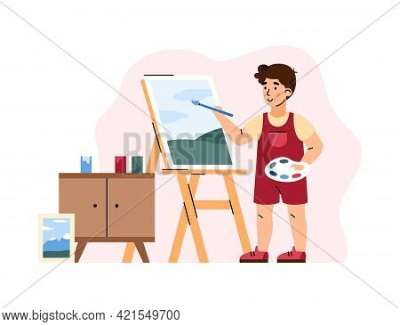 Child Cartoon Character Painting On Canvas, Flat Vector Illustration Isolated.