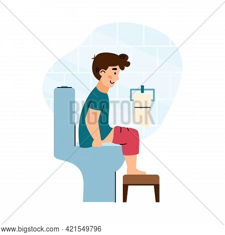 Child Emptying His Bowels Sitting On Toilet Bowl, Vector Illustration Isolated.
