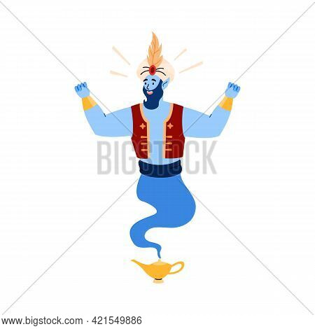 Magical Arab Genie Living In Lamp Fulfills Wishes, Works Miracles And Magic.