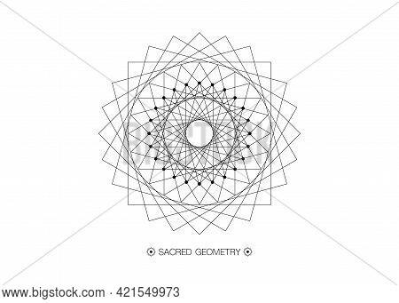 Circle Mandala, Sacred Geometry, Round Frame Sign Geometric Logo Design With Intertwining Of Square