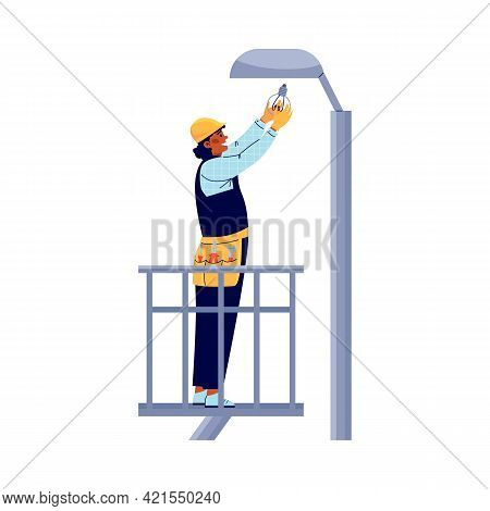 Power Lineman Or Electric Replaces Bulb On Post, Vector Illustration Isolated.