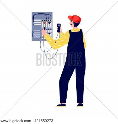 Electrician Checks Equipment To Fix Breakdown Flat Vector Illustration Isolated.