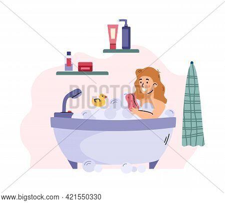 Child Girl In Bathroom Taking A Bath, Cartoon Vector Illustration Isolated.