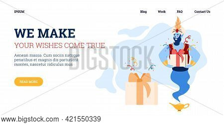 Website With Magic Genie Bringing Gift Boxes Cartoon Vector Illustration.