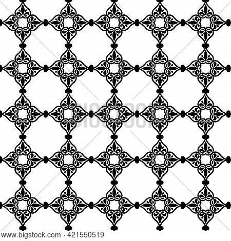 Geometric Flower Pattern In Moroccan Style In Blue