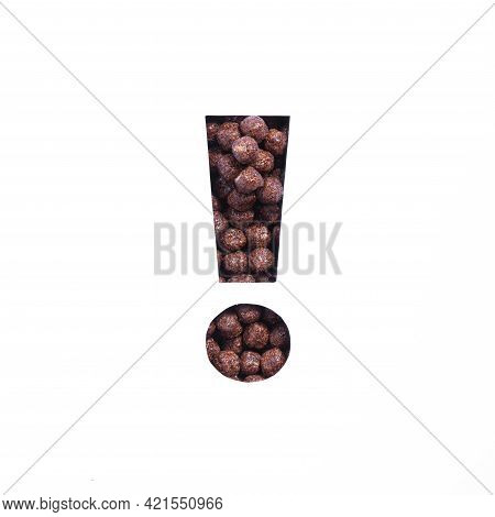 Exclamation Mark Of Chocolate Cereal Balls, White Cut Paper. Typeface For Healthy Nutritional Breakf