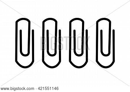 Paper Clip Icon Or Logo Isolated On White Background. Silhouette Of Office Document Fastener. Paperc