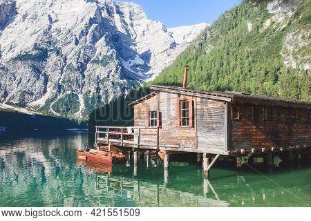 Lago Di Braies. Beautiful Lake In The Italian Alps. Amazing Natural Landscape At Sunset. Lake Braies