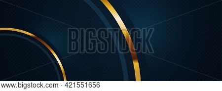 Navy Background With Simple Golden Lines Combination And Half Circle Concept. Graphic Design Element