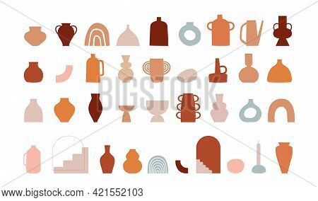 Abstract Bohemian Art Aesthetic Design. Arrangements Of Pottery And Ceramic Pots And Vases